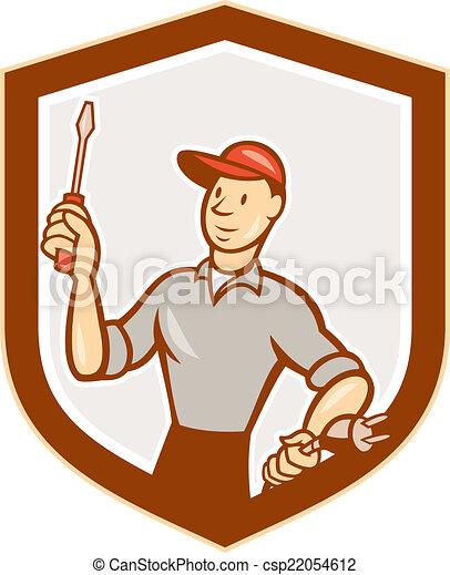 Stecker, schutzschirm, elektriker, karikatur, schraubenzieher ...