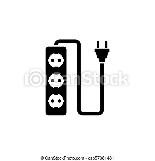 Stecker, wohnung, draht, steckdose, vektor, ikone. Stecker, socket ...