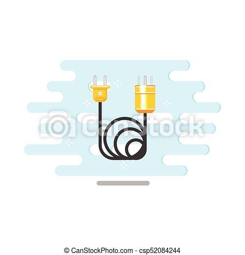 Stecker, wohnung, elektrisch, kabel, vektor, draht, ikone.... EPS ...