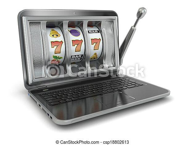 steckplatz, concept., maschine, online, gluecksspiel, laptop - csp18802613