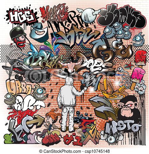 stedelijke graffiti, communie, kunst - csp10745148