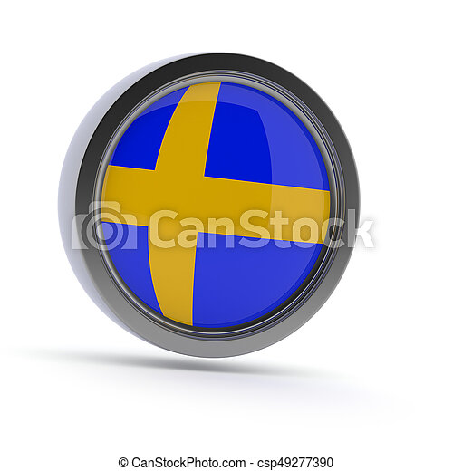 Steel badge with Swedish flag - csp49277390
