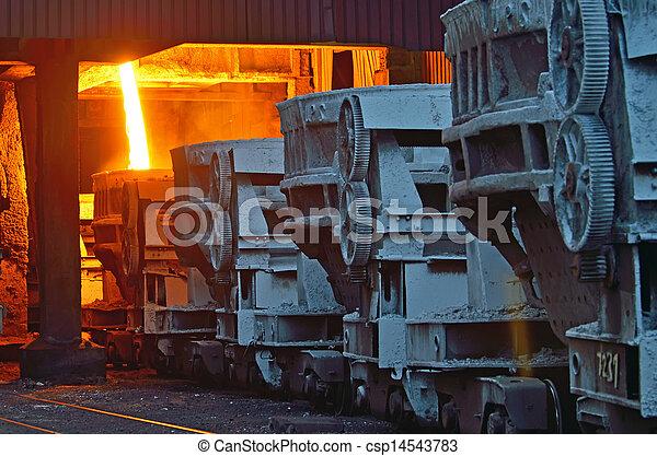 steel buckets to transport the molten metal - csp14543783