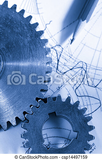 Steel cogwheels in connection on drawing - csp14497159
