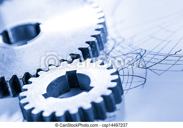 Steel cogwheels in connection on drawing - csp14497237