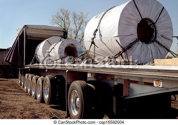 Car Trailer Winch >> Steel coils trucking. Steel haulers in steelmill yard for ...