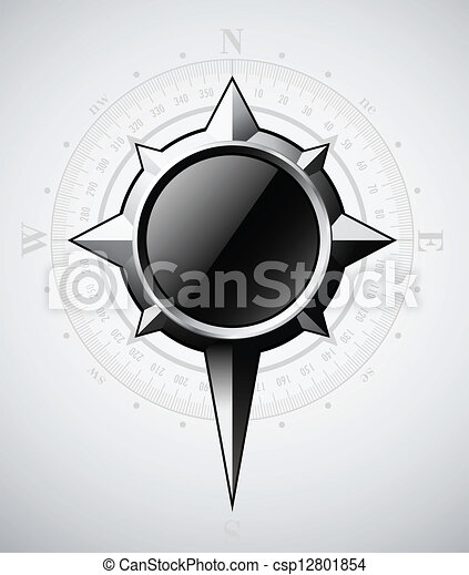 Steel compass rose with scale - csp12801854