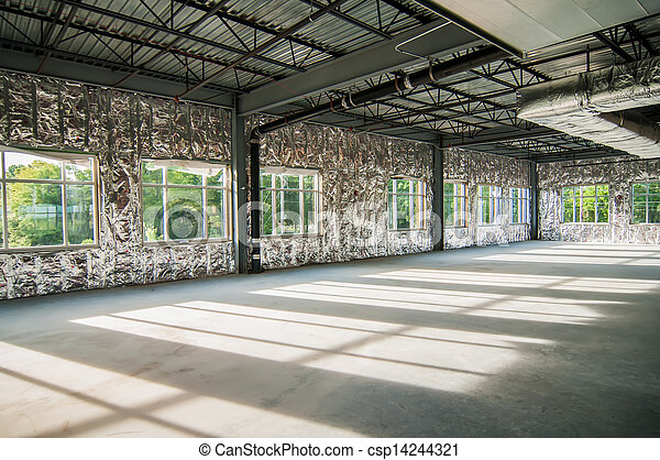 Steel frame construction project unfinished. Exposed interior ...