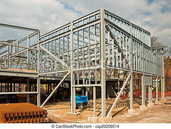 The skeleton frame of a steel framed building showing the vertical ...
