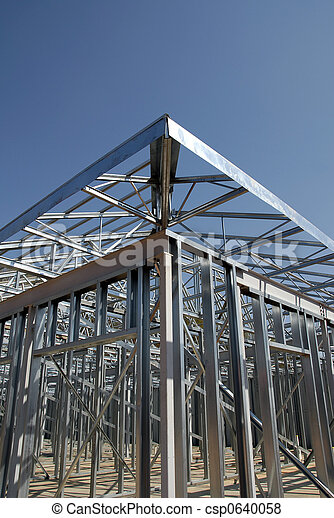Steel framing. Industrial building with steel frame construction.