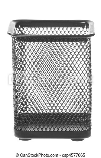 Steel Mesh Pen Stand Isolated - csp4577065