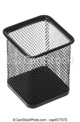 Steel Mesh Pen Stand Isolated - csp4577073