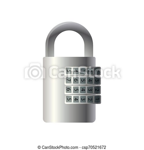 Steel Metal Closed Lock With Number Moving Code Steel Metal Closed Lock With Number Moving Unlocking Code Cartoon Style