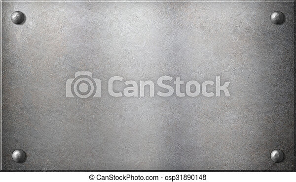 steel metal plate with rivets - csp31890148