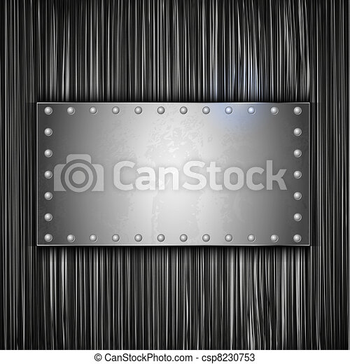 steel plate with place for your text. Vector metal background - csp8230753