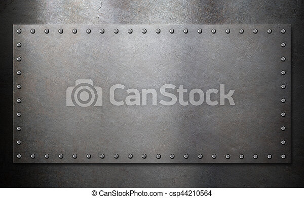 steel plate with rivets over metal background - csp44210564