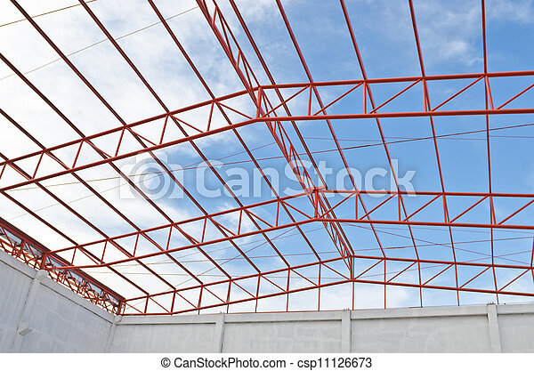 Steel Roof Trusses Sitting On Concrete Pole View From Inside Home