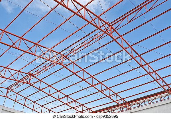 Steel Roof Trusses Sitting On Concrete Pole View From