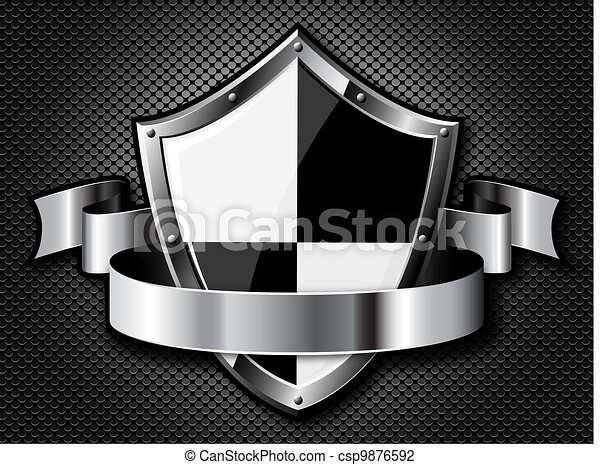 Steel shield with ribbon