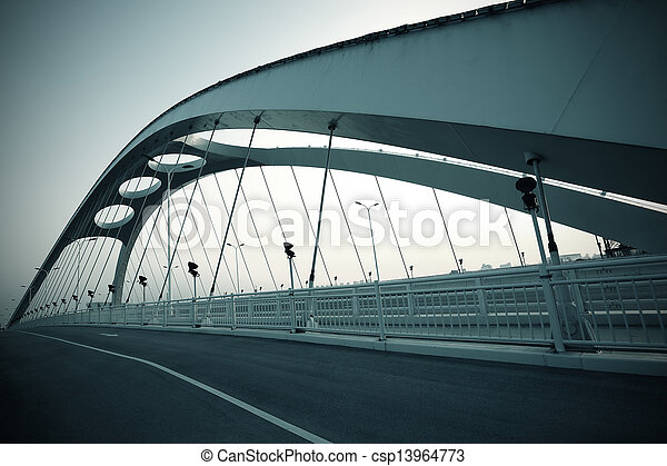 Steel structure bridge night scene - csp13964773