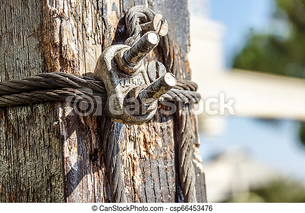 Steel wire rope with clamp . close up - csp66453476