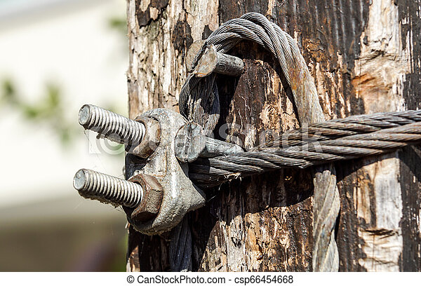 Steel wire rope with clamp . close up - csp66454668