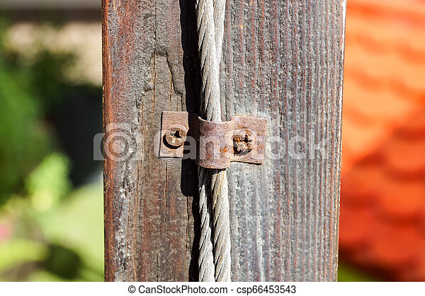 Steel wire rope with clamp . close up - csp66453543