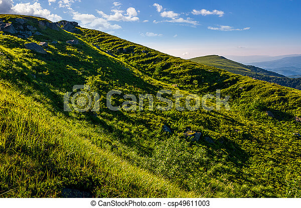 steep grassy slope in summer mountains - csp49611003