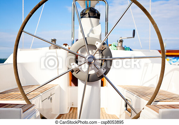 Steering wheel on boat