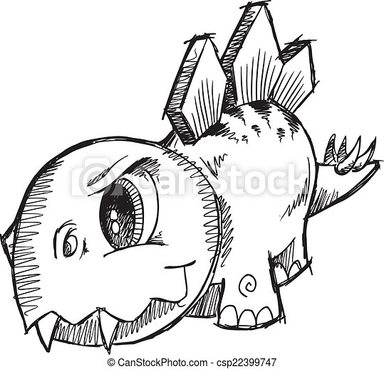 Stegosaurus Dinosaur Sketch Vector  - csp22399747