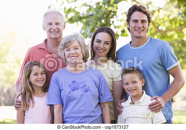 stehen lächelnd, ausgedehnt, park, familie - csp1873127