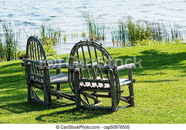 stehen, stühle, hölzern, altes , rasen, grün, zwei - csp50976505