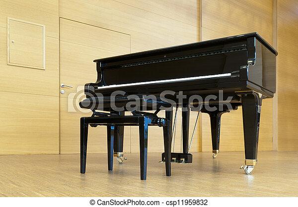 stehende , concert, hölzern, paino, hocker, schwarz, bereit, spielende , buehne - csp11959832