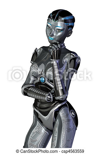 stehende , denken, roboter - csp4563559