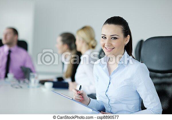 stehende , frauenunternehmen, sie, hintergrund, personal - csp8890577