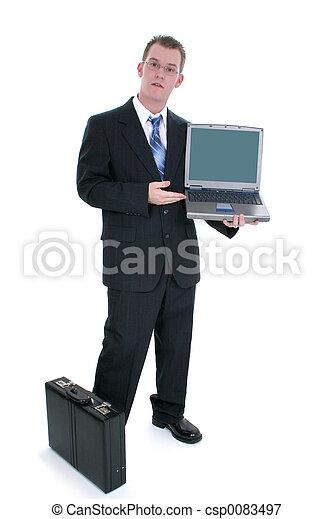 stehende , geschäftsmann, laptop, öffnen aktenmappe - csp0083497