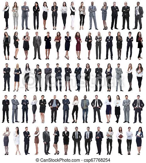 stehende , geschäftsmenschen, collage, junger, row. - csp67768254