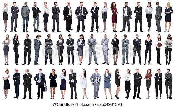 Eine Kollage junger Geschäftsleute, die in einer Reihe stehen. - csp64901593
