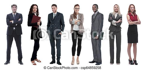 Eine Reihe von Geschäftsleuten stehen hintereinander - csp64859258