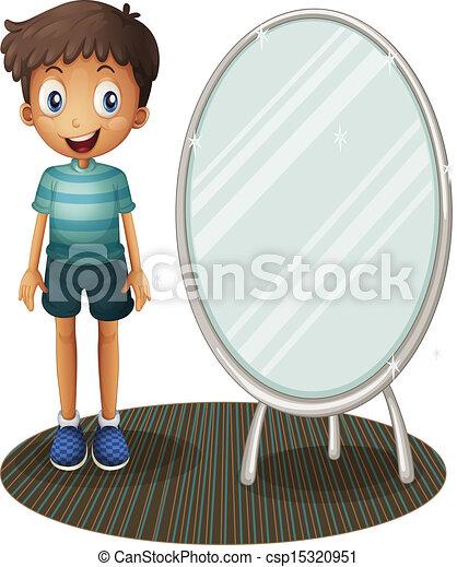 Stehende junge neben spiegel stehende junge for Spiegel kinderzimmer junge