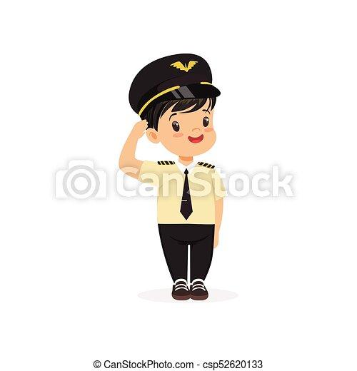Ein lächelnder Pilot steht isoliert auf weiß. Karrieretag im Kindergarten. Flat Child Charakter in Captain Uniform - csp52620133