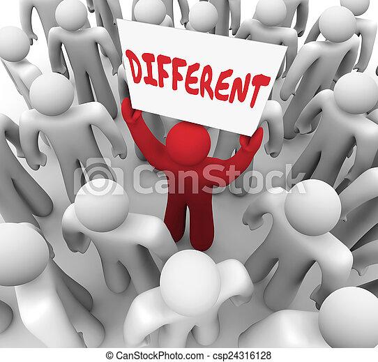 Ein anderes Wort ist ein einzigartiger Mann, der in der Menge der Menschen steht - csp24316128