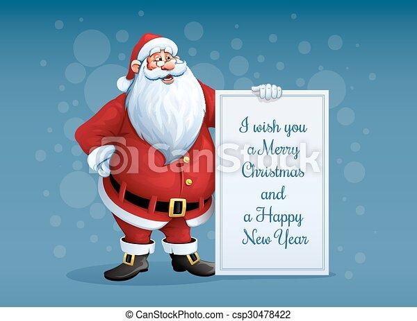 Weihnachten Grüße Bilder.Stehende Weihnachtsmann Weihnachten Grüße Fröhlich Banner Arm