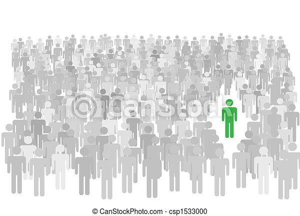 steht, menschenmasse, symbol, groß, person, individuum, heraus - csp1533000