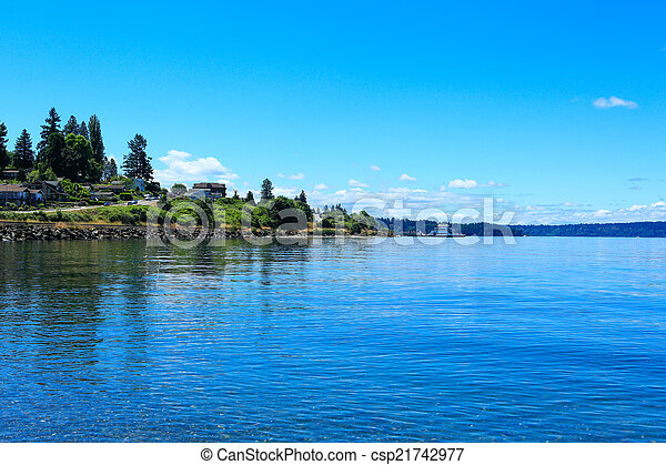 Steilacoom beach and ferry. Washington state - csp21742977
