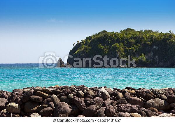 stein, böschung, fokus, jamaica., meer, heraus - csp21481621