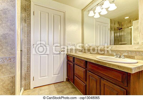 Stein Fliesenmuster Cabinets Badezimmer Dusche Holz