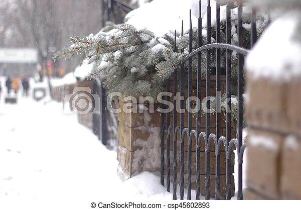 Stein Uralt Winter Zaun Metall Gemacht Gefalscht Stein
