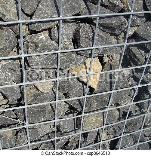 Steine Gemacht Zaun Wand Metall Detail Kafig