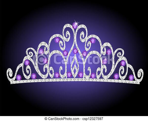 steine, lila, krone, frauen, wedding, tiara - csp12327597
